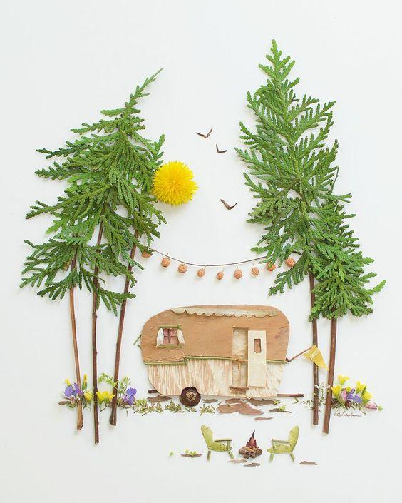 Creative handmade tutorials, leaf paintings, bringing children close to nature