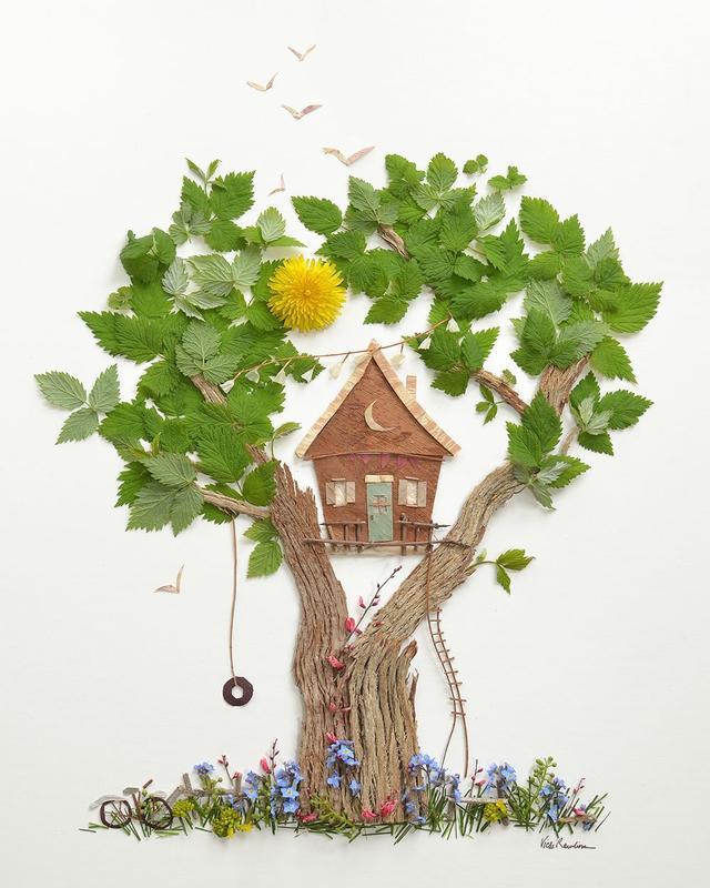 Creative handmade tutorials, leaf paintings, bringing children close to nature